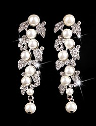 cheap -Vintage Party Wedding Princess Birde Crown Rhinestone Crystal Pearl Long Silver Earring