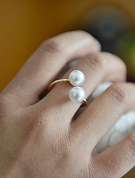 cheap -Women's Band Ring thumb ring Pearl Golden Pearl Ladies Unusual Unique Design Wedding Party Jewelry Adjustable
