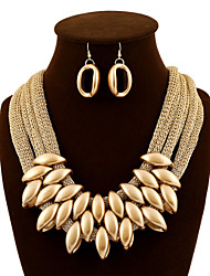cheap -Women's Jewelry Set Drop Earrings Bib necklace Layered Twisted Statement Ladies Luxury Vintage Party Work Earrings Jewelry Deep Purple / Screen Color For Party Special Occasion Daily / Necklace