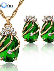 cheap -Green Cubic Zirconia Earrings Jewelry Green For Wedding Special Occasion Birthday Engagement Gift Daily