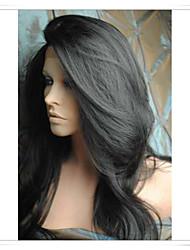 Недорогие -Парики из искусственных волос Естественные волны Естественные волны Лента спереди Парик Черный Темно-коричневый Средний коричневый Искусственные волосы Черный Коричневый
