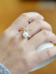 cheap -Women's Band Ring thumb ring Pearl Rhinestone Alloy Ladies Unusual Unique Design Wedding Party Jewelry Adjustable