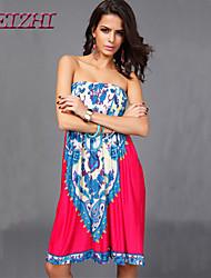 cheap -Women's Holiday Boho Loose Dress - Patchwork Print Strapless Off Shoulder Summer Camel Dark Red Dark Pink L XL XXL
