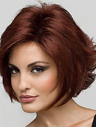cheap -Synthetic Wig Straight Curly Curly Straight Layered Haircut Wig Short Red Wine Synthetic Hair 8 inch Women's Natural Hairline Red