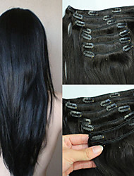 cheap -Clip In Human Hair Extensions Straight Human Hair Dark Black Natural Black Blonde
