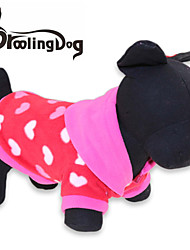 cheap -Cat Dog Hoodie Dog Clothes Heart Red Polar Fleece Costume For Winter