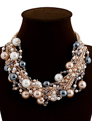 cheap -Women's Statement Necklace Pearl Necklace Ladies Luxury Festival / Holiday Color Pearl Alloy Black Pink Rainbow Necklace Jewelry For Wedding Party Special Occasion
