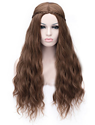 cheap -Cosplay Costume Wig Synthetic Wig Curly Asymmetrical Wig Long Brown Synthetic Hair Women's Natural Hairline Brown