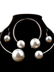 cheap -Women's Pearl Jewelry Set Ball Ladies Fashion Elegant Bridal Oversized everyday Pearl Imitation Pearl Earrings Jewelry Silver For Wedding Party Birthday Engagement Gift Daily 1 set / Necklace