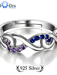 cheap -Guarantee 925 Sterling Silver Colorful Zircon CZ Infinity Ring Fashion Jewelry Adjustable Rings For Women