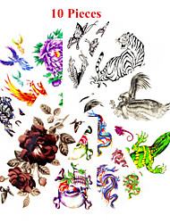 cheap -10pcs-mixed-patterns-temporary-tattoos-sticker-girl-women-flower-tattoos-arm-neck-tattoos