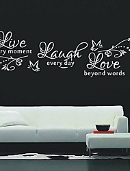 cheap -Still Life Wall Stickers Words & Quotes Wall Stickers Decorative Wall Stickers, Vinyl Home Decoration Wall Decal Wall Decoration / Washable / Removable