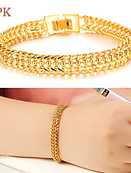 cheap -Men's Women's Chain Bracelet Copper Bracelet Jewelry For Wedding Party Daily Casual Sports / Gold Plated