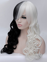 cheap -Cosplay Costume Wig Synthetic Wig Curly Asymmetrical Wig Long Natural Black Synthetic Hair Women's Natural Hairline African American Wig Black White
