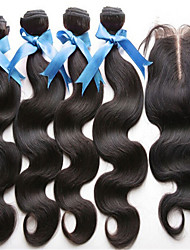 cheap -Hair Weft with Closure Brazilian Texture Body Wave hair weaves