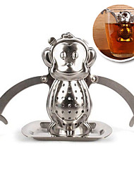 Недорогие -Обезьяна Стиль нержавеющей стали чай для заварки с поддоном