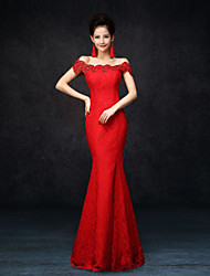 cheap -Mermaid / Trumpet Elegant Formal Evening Dress Off Shoulder Sleeveless Floor Length Lace with Lace 2021