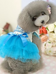cheap -Dog Dress Dog Clothes Light Blue Rose Costume Cotton Wedding S M L XL XXL
