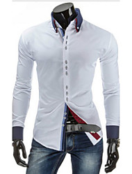 cheap -Men's Solid Colored Basic Slim Shirt Daily Weekend Button Down Collar White / Black / Red / Navy Blue / Royal Blue / Long Sleeve