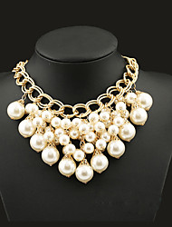 cheap -Women's Statement Necklace Statement Tassel European Fashion Pearl Alloy Screen Color Necklace Jewelry For Party Special Occasion Birthday Gift