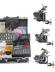 cheap -Tattoo Machine Professional Tattoo Kit - 3 pcs Tattoo Machines Mini power supply Case Included 3 steel machine liner & shader
