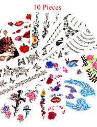 cheap -10pcs mixed patterns temporary tattoos sticker women girl flower tattoos arm neck tattoos