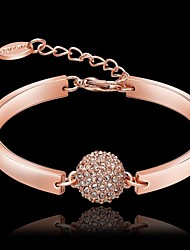 cheap -Women's Crystal Charm Bracelet Pave Ladies 18K Gold Plated Bracelet Jewelry Rose Gold For Christmas Gifts Party Daily / Rose Gold Plated / Rhinestone / Rose Gold Plated