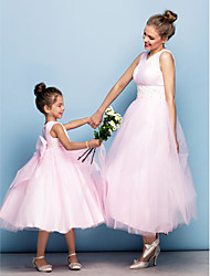 cheap -Ball Gown Tea Length Party / Holiday / Cocktail Party Flower Girl Dresses - Tulle Sleeveless V Neck with Criss Cross / Pearls / Beading / Formal Evening / Mini Me