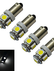 cheap -4pcs 70-100 lm BA9S Car Light Reading Light Decoration Light 5 leds SMD 5050 Cold White DC 12V