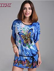 cheap -Women's Daily Batwing Sleeve Loose Dress Print Summer Green Blue Watermelon One-Size