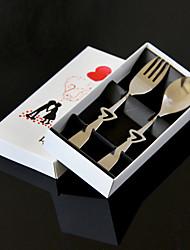 billige -sæt af 2 gaveæske kærlighed hjerteformet rustfrit stål gaffel ske cultery sæt 14.5 * 3 * 1 cm