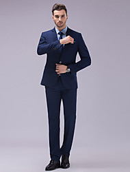 cheap -Blue Solid Colored Slim Fit Polyester Suit - Slim Notch Single Breasted Two-buttons / Suits