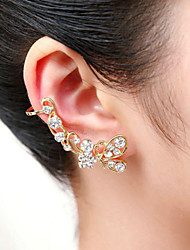 cheap -Men's Women's Crystal Ear Cuff Climber Earrings Helix Earrings Butterfly Animal Crystal Silver Plated Gold Plated Earrings Jewelry Silver / Golden For Wedding Party Daily Casual / Imitation Diamond