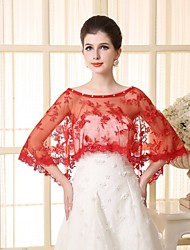 cheap -Sleeveless Capelets Lace / Tulle Wedding / Party Evening Wedding  Wraps With Lace / Appliques
