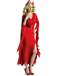 cheap -Witch Cosplay Costume Women's Halloween Carnival Festival / Holiday Polyester Terylene Black / Red Women's Carnival Costumes / Headwear