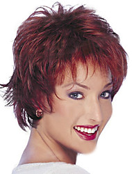 cheap -Synthetic Wig Straight Curly Natural Wave Natural Wave Curly Layered Haircut Wig Short Red Wine Synthetic Hair 14 inch Women's Natural Hairline Red