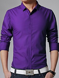 cheap -Men's Daily Work Business Slim Shirt - Solid Colored Basic Classic Collar Blue / Long Sleeve