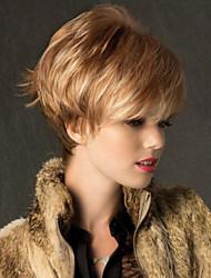 cheap -Human Hair Blend Wig Straight Short Hairstyles 2020 Straight Capless Dark Brown Auburn Red Mixed Black