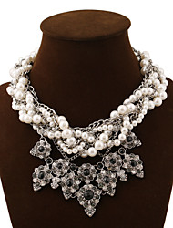 cheap -Women's Crystal Statement Necklace Layered Necklace Layered Chinese Knot Ladies Luxury European Fashion Synthetic Gemstones Pearl Alloy Screen Color Necklace Jewelry For Party Special Occasion