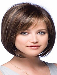 cheap -Human Hair Wig Bob Free Part With Bangs style Brazilian Hair Straight Wig 130% Density with Baby Hair Bleached Knots Women's Short Medium Length Long Human Hair Lace Wig Premierwigs