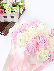 cheap -8 Inch Foam Santin Artifiical Kissing Rose Flowers Semisphere Balls Wedding Bouquet Car &Home Decoration