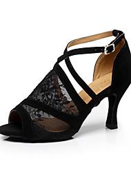 cheap -Women's Dance Shoes Latin Shoes Ballroom Shoes Sandal Buckle Stiletto Heel Black Buckle / EU38
