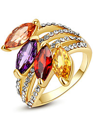 cheap -Women's Statement Ring Crystal Rainbow Transparent Champagne Imitation Diamond Alloy Geometric Ladies Classic Fashion Party Jewelry