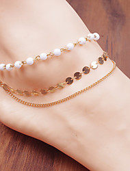 Недорогие -цепи перлы круг кисточка браслет браслет кольцо тело ноги пляж ювелирные изделия