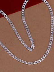 cheap -Chain Necklace Ladies Fashion Silver plated steel Sterling Silver Silver Plated Silver Necklace Jewelry For Wedding Party Daily Casual