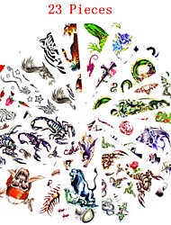 cheap -23pcs-mixed-patterns-temporary-tattoos-sticker-women-girl-flower-animal-tattoos-arm-neck-tattoos