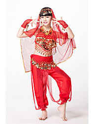 cheap -Outfits Performance Chiffon / Sequined Coin / Beading / Sequin Sleeveless Natural Top / Belly Dance