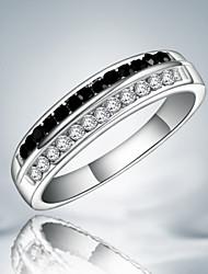 Недорогие -Жен. Кольцо прядильное кольцо Цирконий Черно-белый Стерлинговое серебро Цирконий Искусственный бриллиант Массивный Мода Для вечеринок Бижутерия