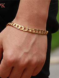 cheap -Men's Chain Bracelet Copper Bracelet Jewelry For Wedding Party Daily Casual Sports / Gold Plated