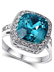 cheap -Women's Statement Ring Crystal Citrine Blue 18K Gold Plated Imitation Diamond Alloy Ladies Bling Bling Wedding Party Jewelry Solitaire Cluster Emerald Cut Aquarius Cocktail Ring Mood